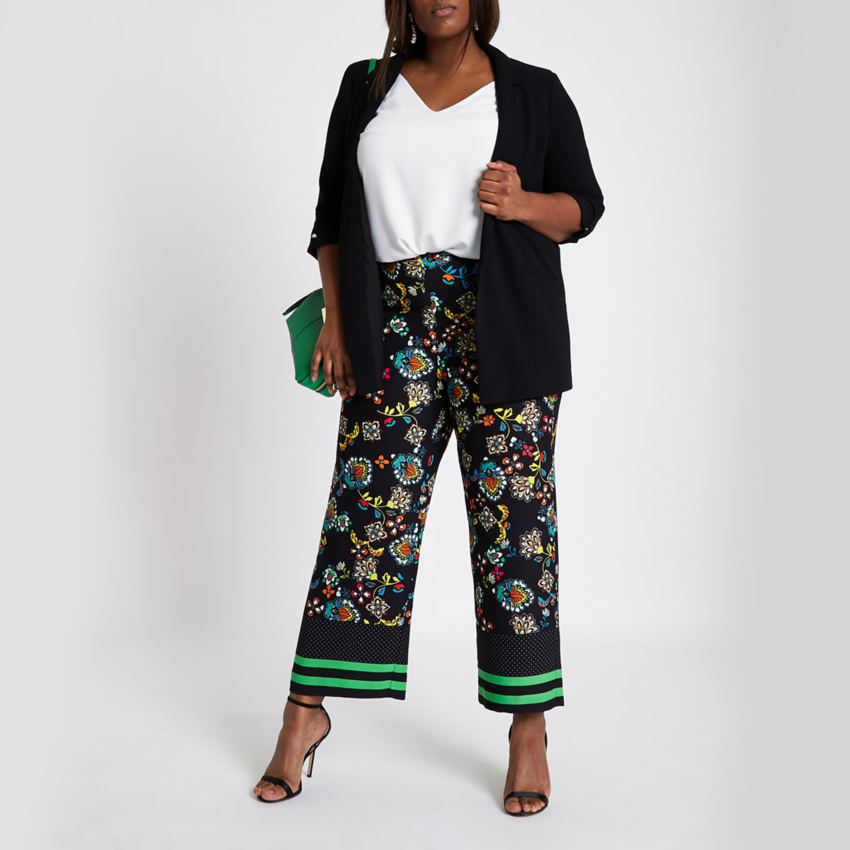Plus black floral print wide leg pants