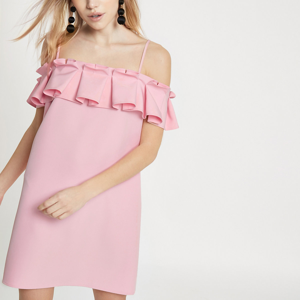 Petite pink pleated frill cold shoulder dress