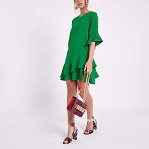 Petite green asymmetric frill hem shift dress