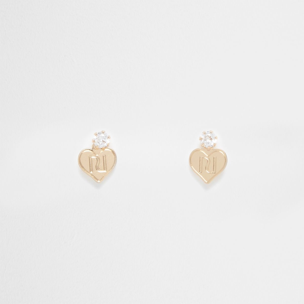 Gold tone mini diamante heart stud earrings