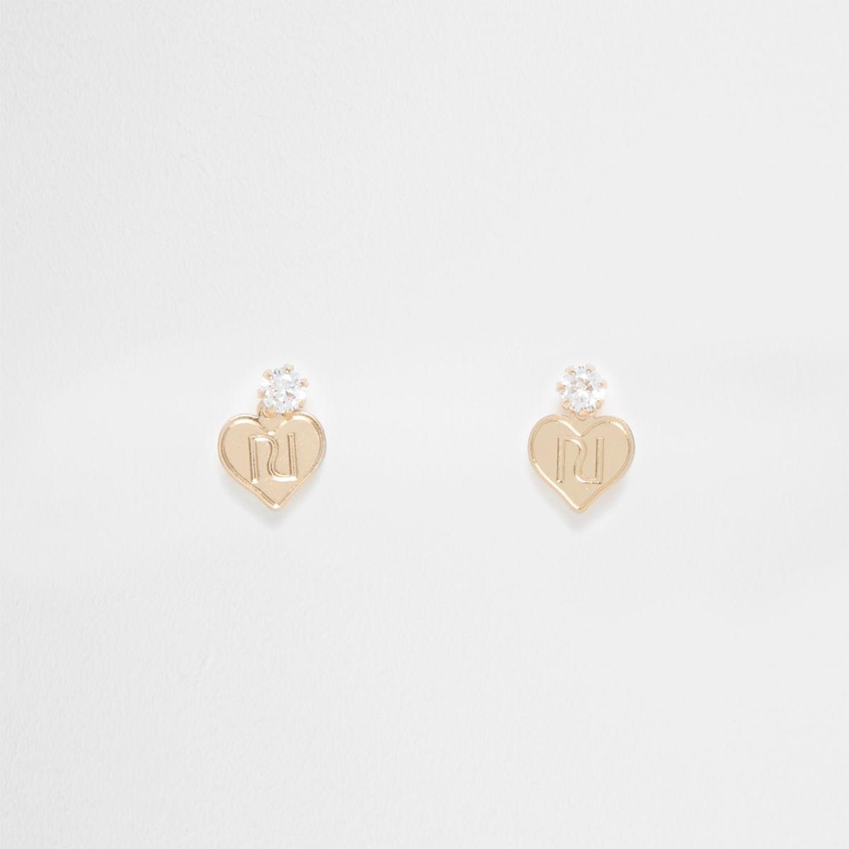 Gold tone mini rhinestone heart stud earrings