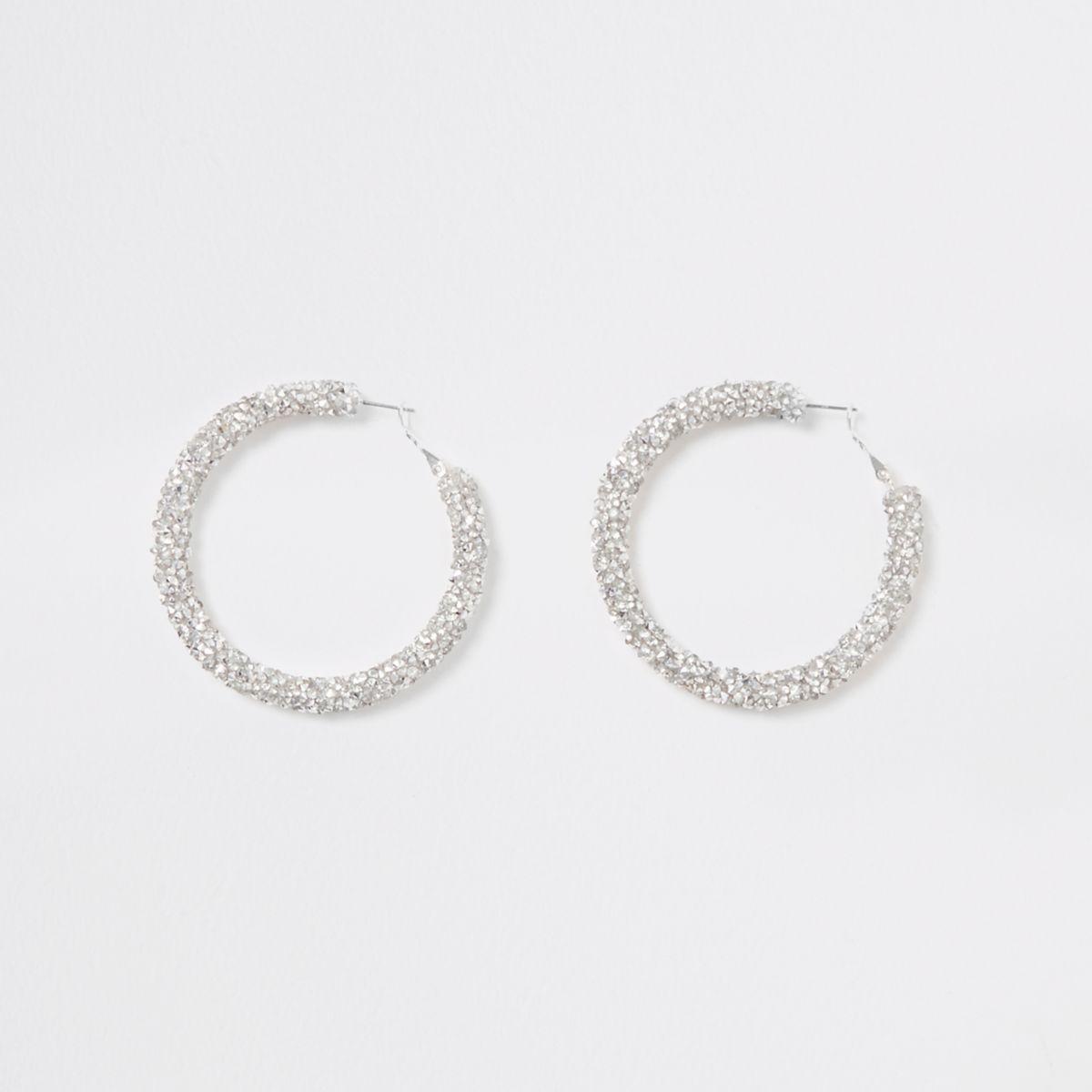 Silver tone rhinestone encrusted hoop earrings