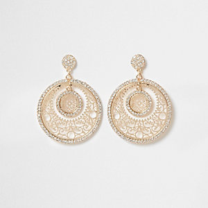 Gold tone filigree rhinestone disk earrings