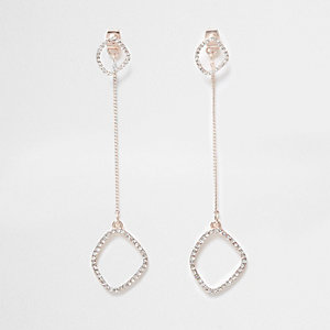 Rose gold color front and back drop earrings