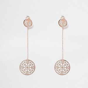 Rose gold tone filigree front back earrings