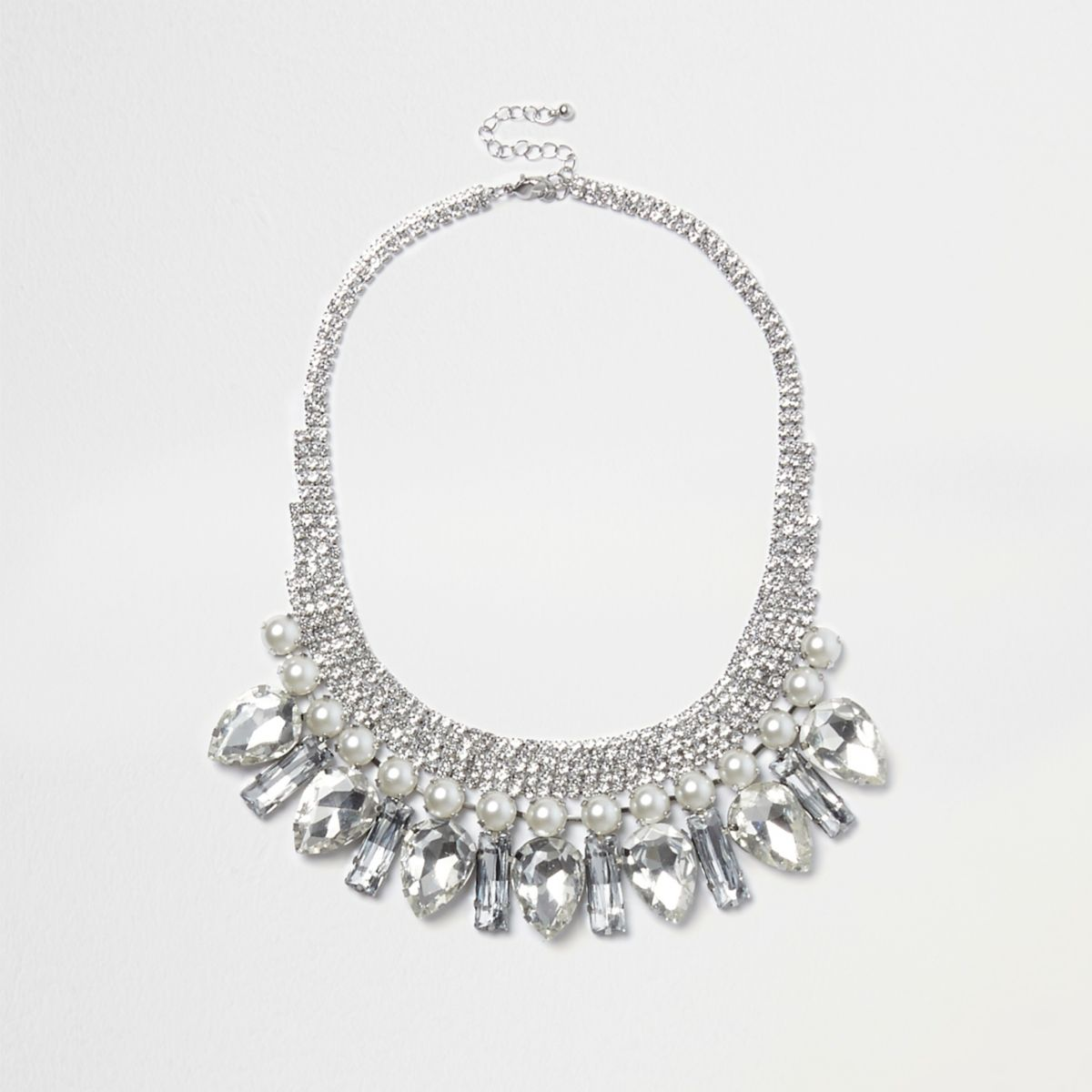 Silver tone jewel and pearl drop necklace
