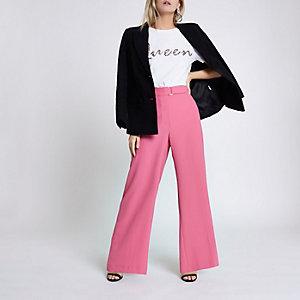 RI Petite - Roze broek met wijde pijpen