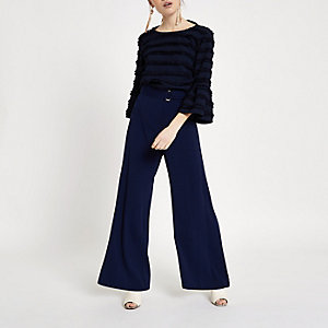 Petite navy belted wide leg trousers