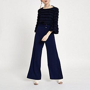 RI Petite - Marineblauwe broek met riem en wijde pijpen