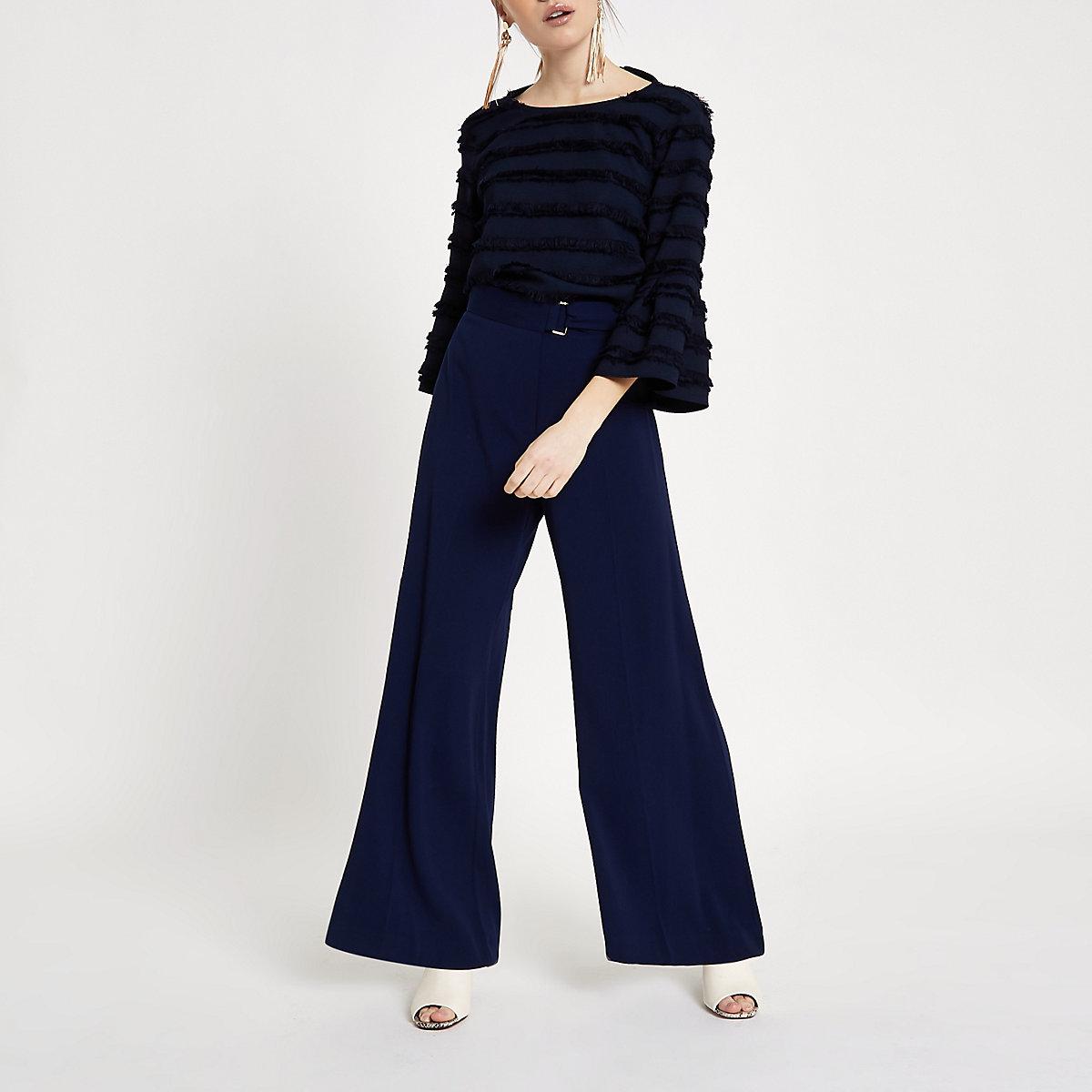 Petite navy belted wide leg pants