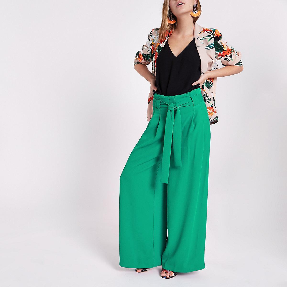 Petite green paperbag waist wide leg trousers