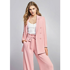 Pink paper bag waist wide leg trousers