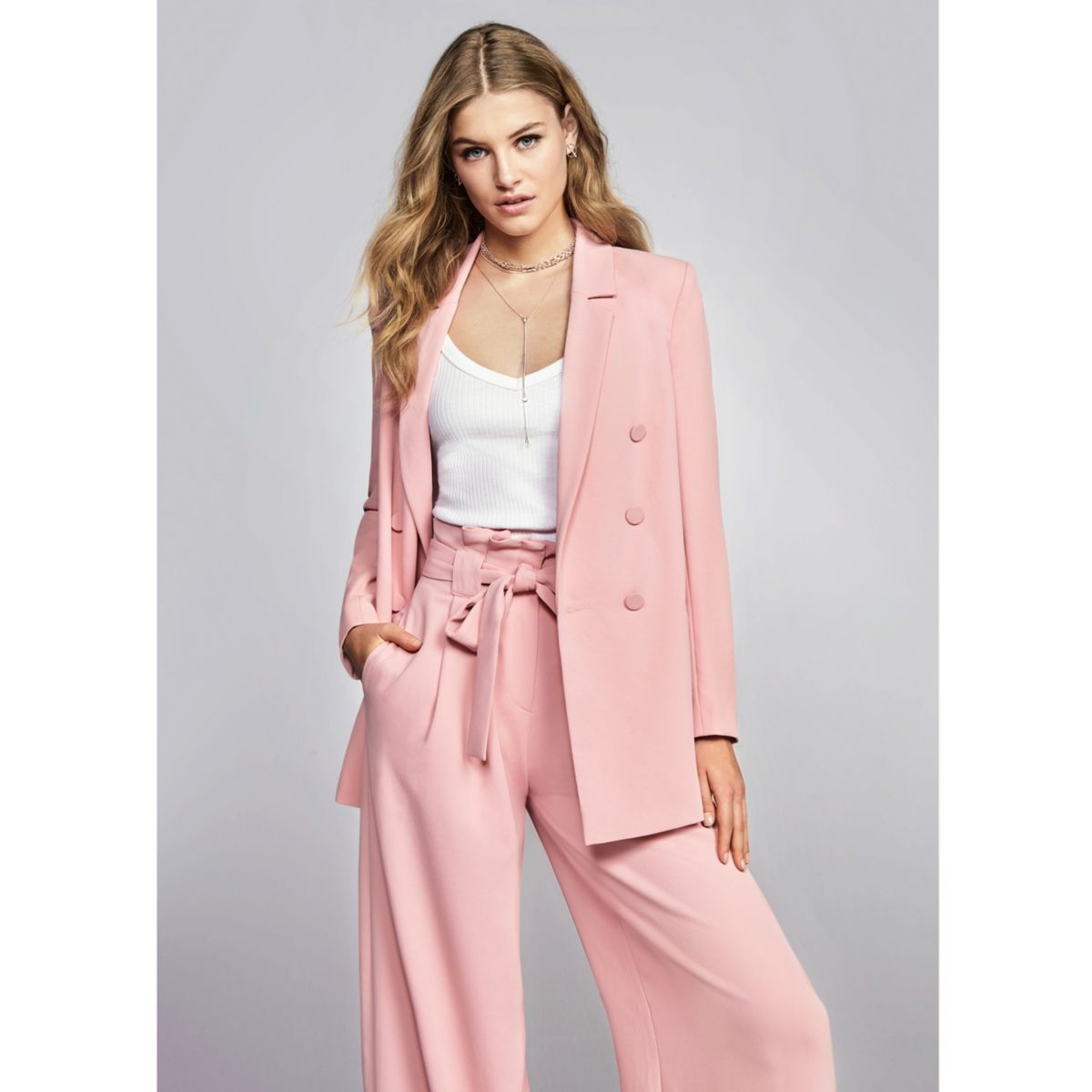 Pink paper bag waist wide leg pants