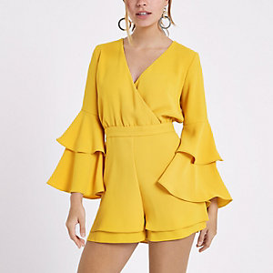 Petite mustard yellow frill sleeve playsuit