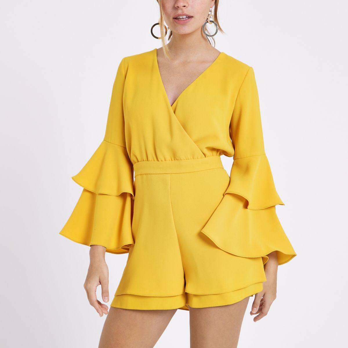 Petite mustard yellow frill sleeve playsuit