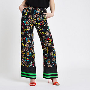 Black floral print wide leg pants