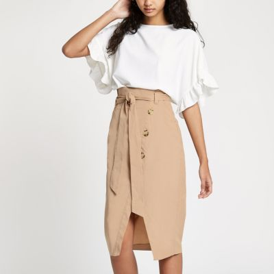 Beige Paper Bag Midi Skirt