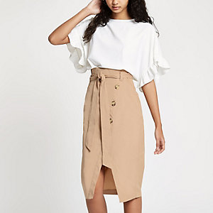 Beige paperbag button front pencil skirt