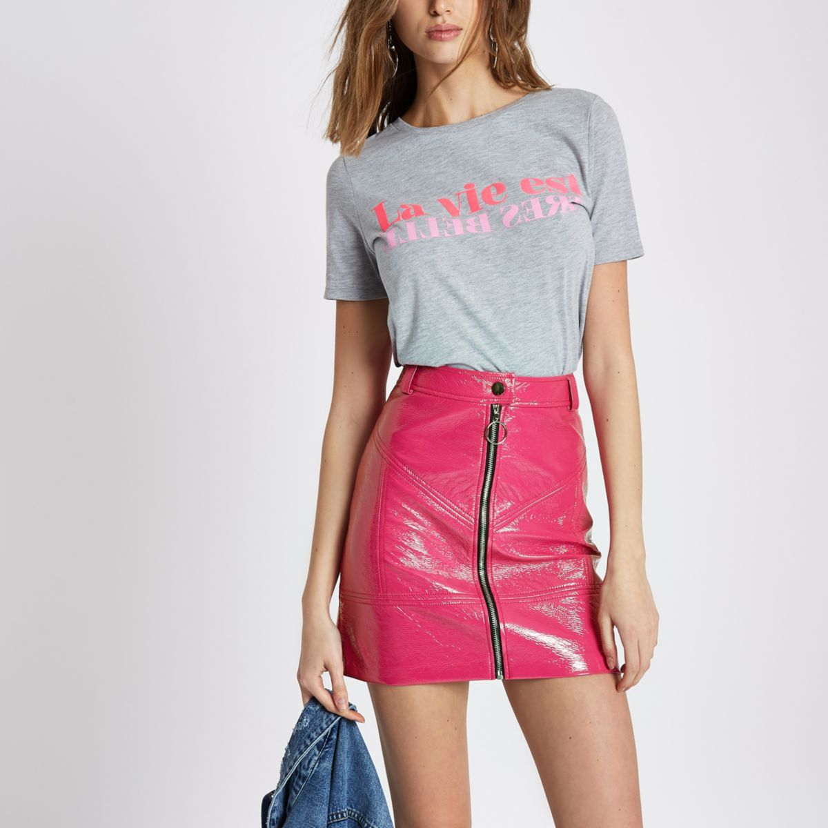 Pink mini skirt remarkable, and
