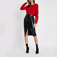Black faux leather wrap ring tie pencil skirt