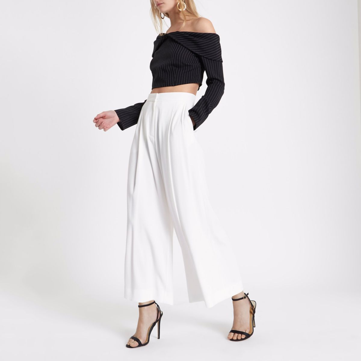 Cream wide leg culottes
