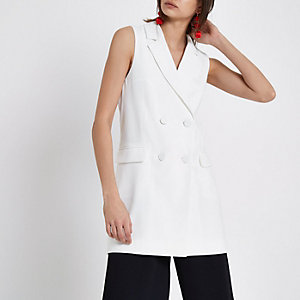 White double breasted sleeveless jacket