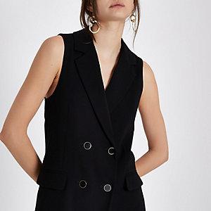 Zwart double-breasted mouwloos jasje
