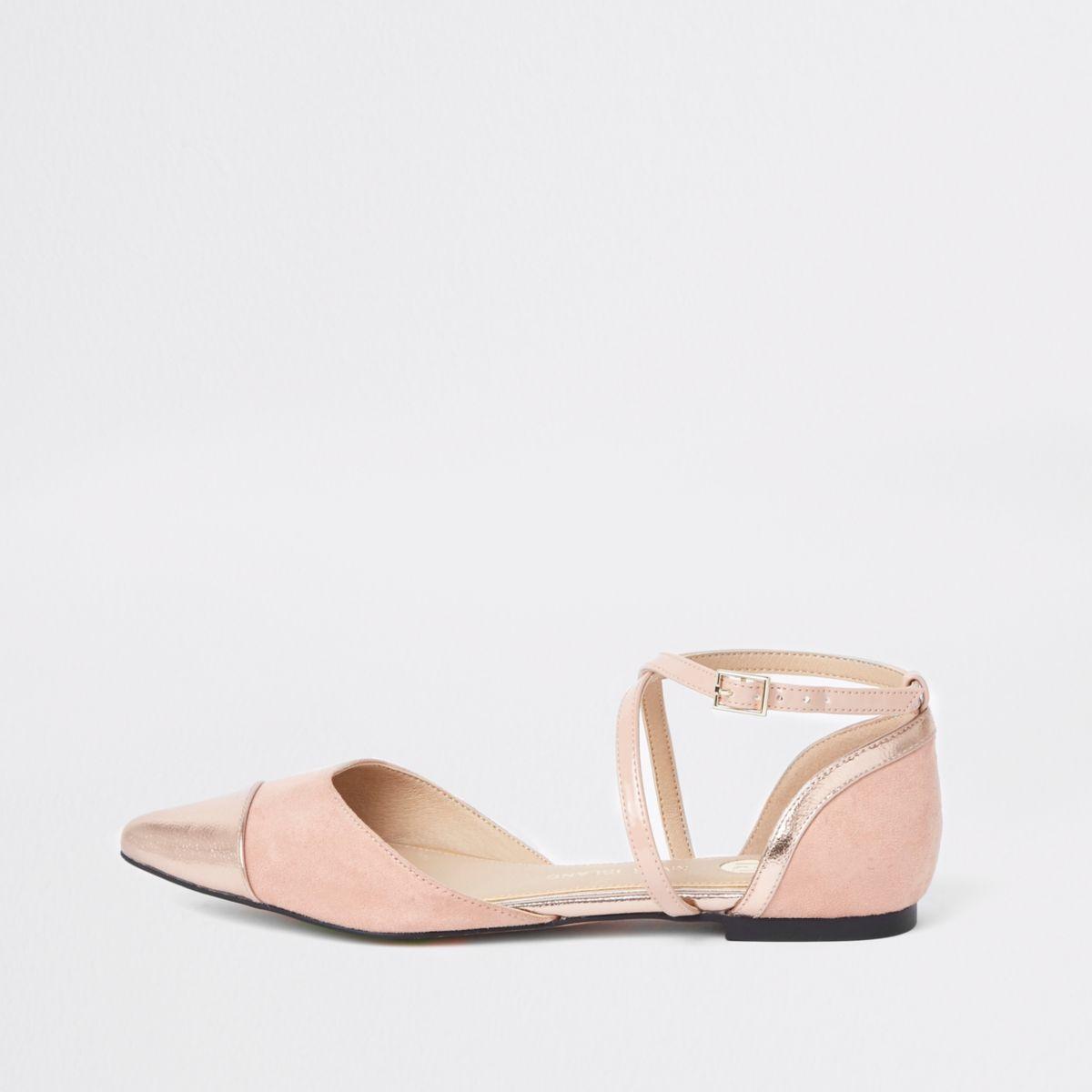 Lichtroze puntige schoenen met bandjes