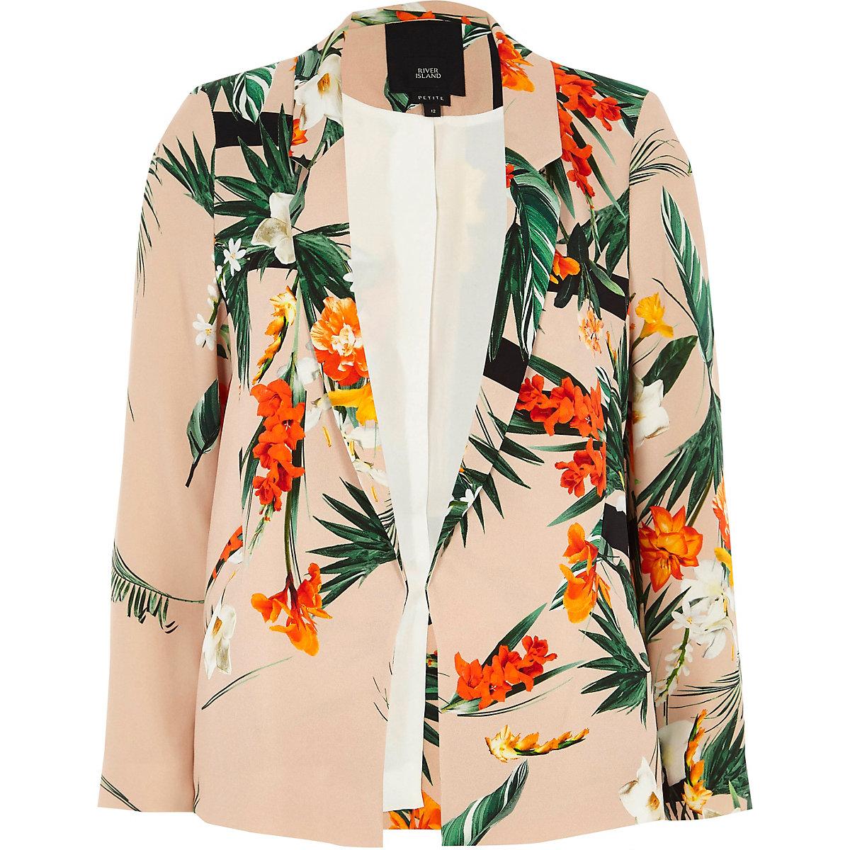 Petite light pink floral print blazer
