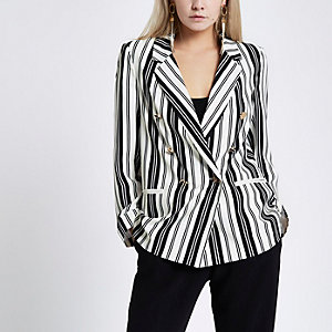 Petite white stripe double breasted blazer