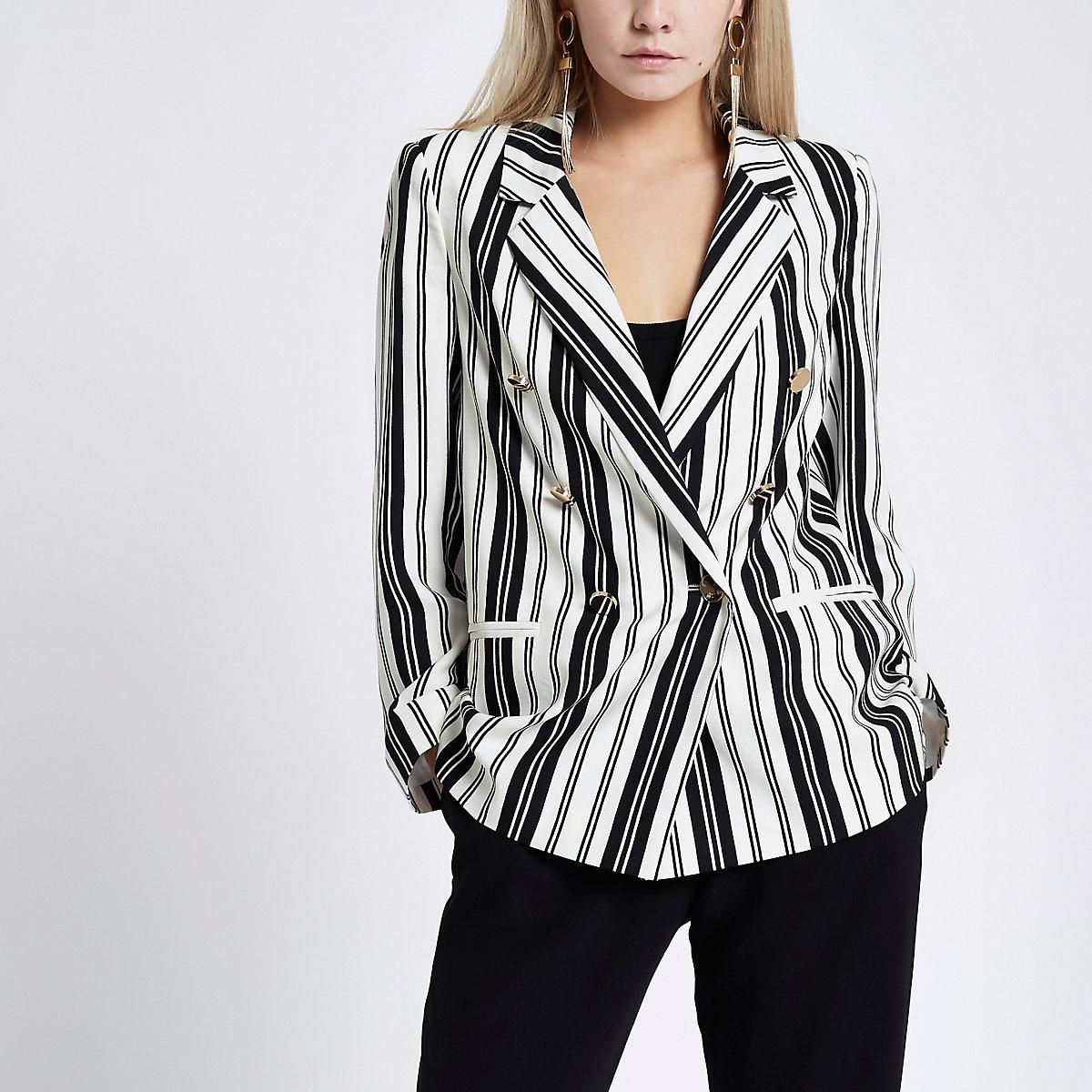 Petite white stripe double breasted blazer