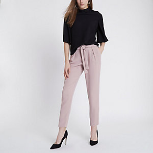 Light pink tie waist tapered pants