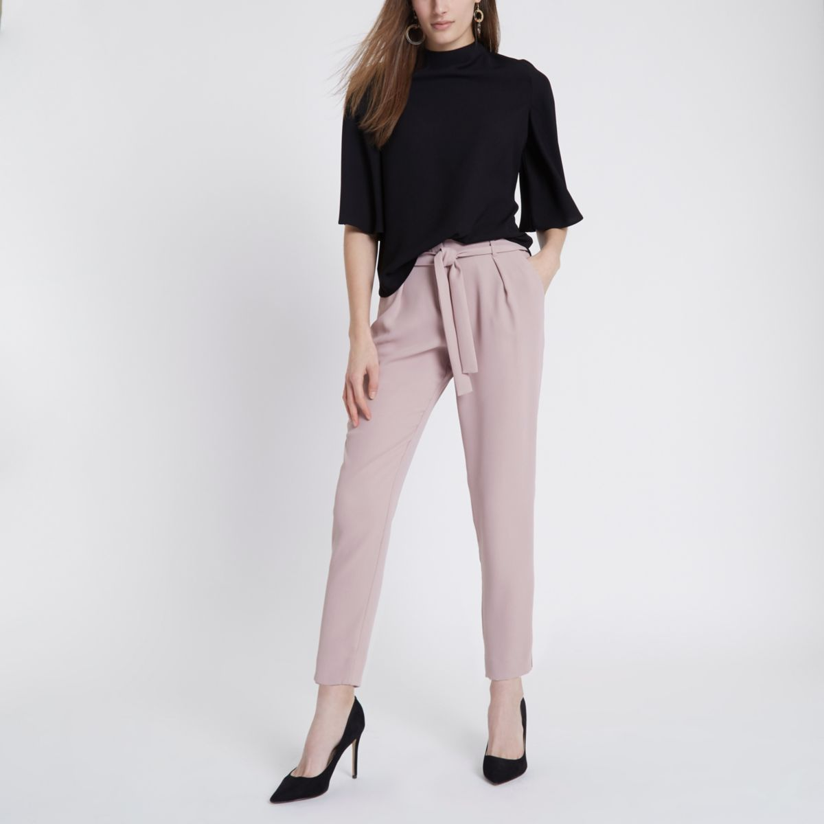 light pink tie waist tapered trousers tapered trousers