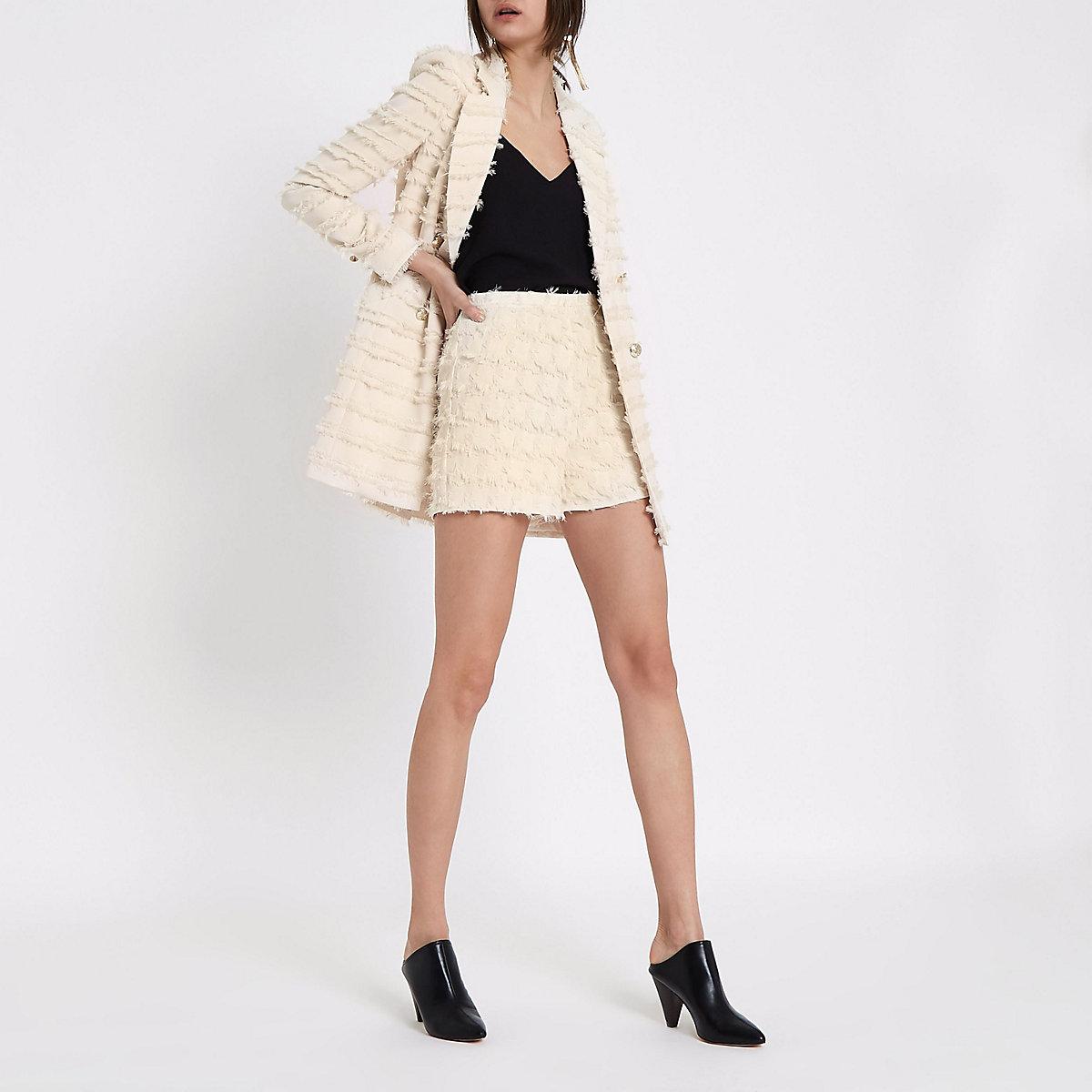 Cream fringe detail high waisted shorts