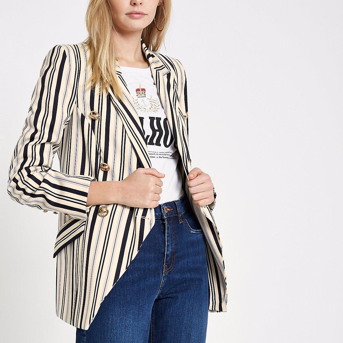 Navy stripe double-breasted tuxedo jacket