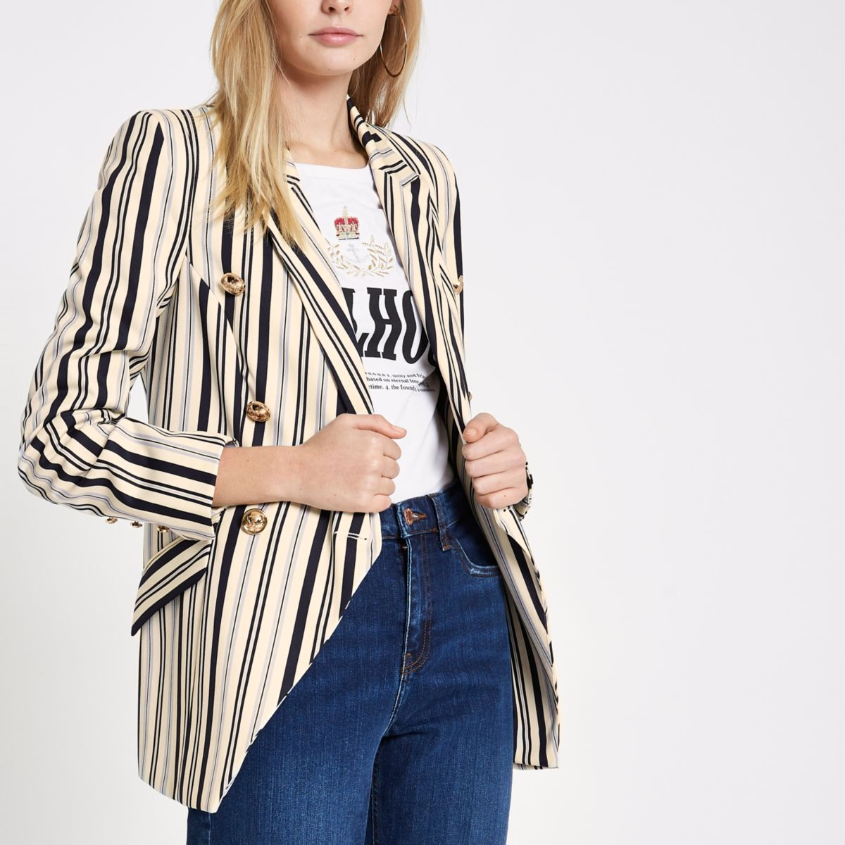 Navy stripe double-breasted tuxedo jacket