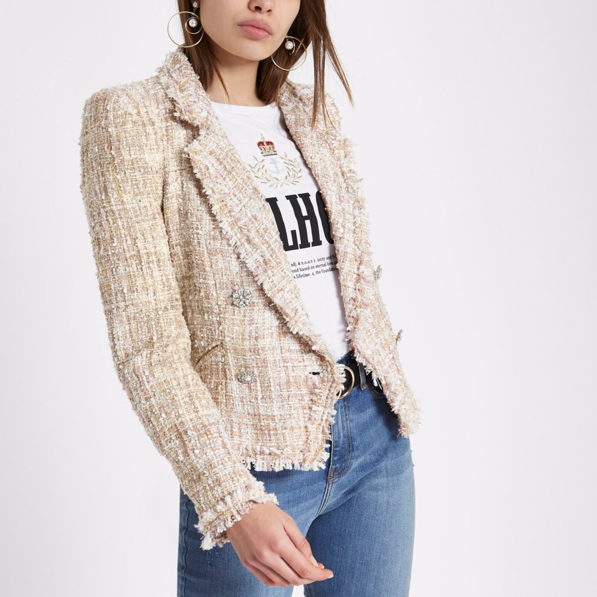 Cream boucle glitter double-breasted jacket