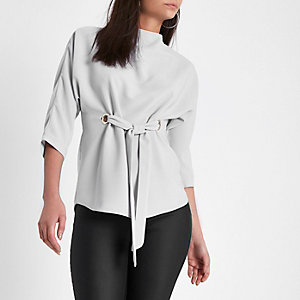 Grey eyelet tie front top