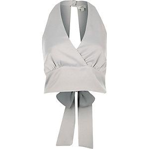 Grey halter tie back crop top