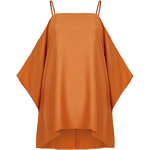 Orange satin cold shoulder cape sleeve top