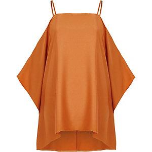 Oranje satijnen schouderloze top met capemouwen