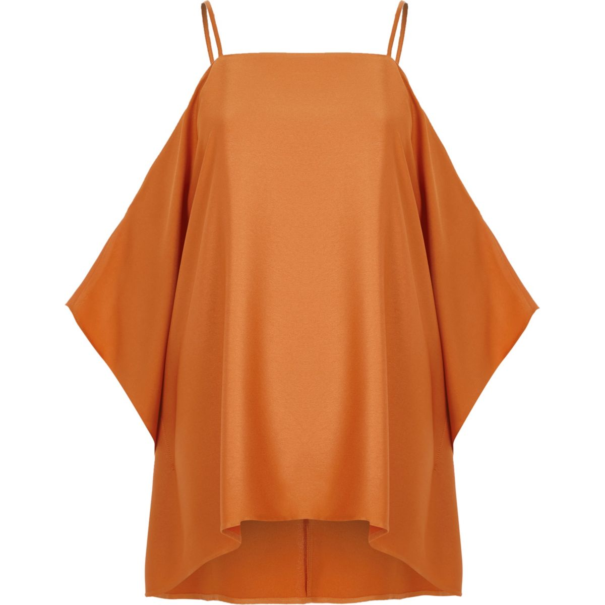 Orange satin cold shoulder cape sleeve top