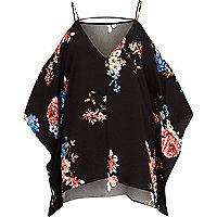 Black floral cold shoulder cape sleeve top