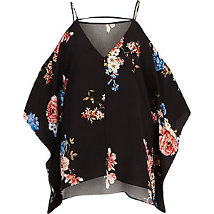 Black floral cold shoulder cape sleeve top