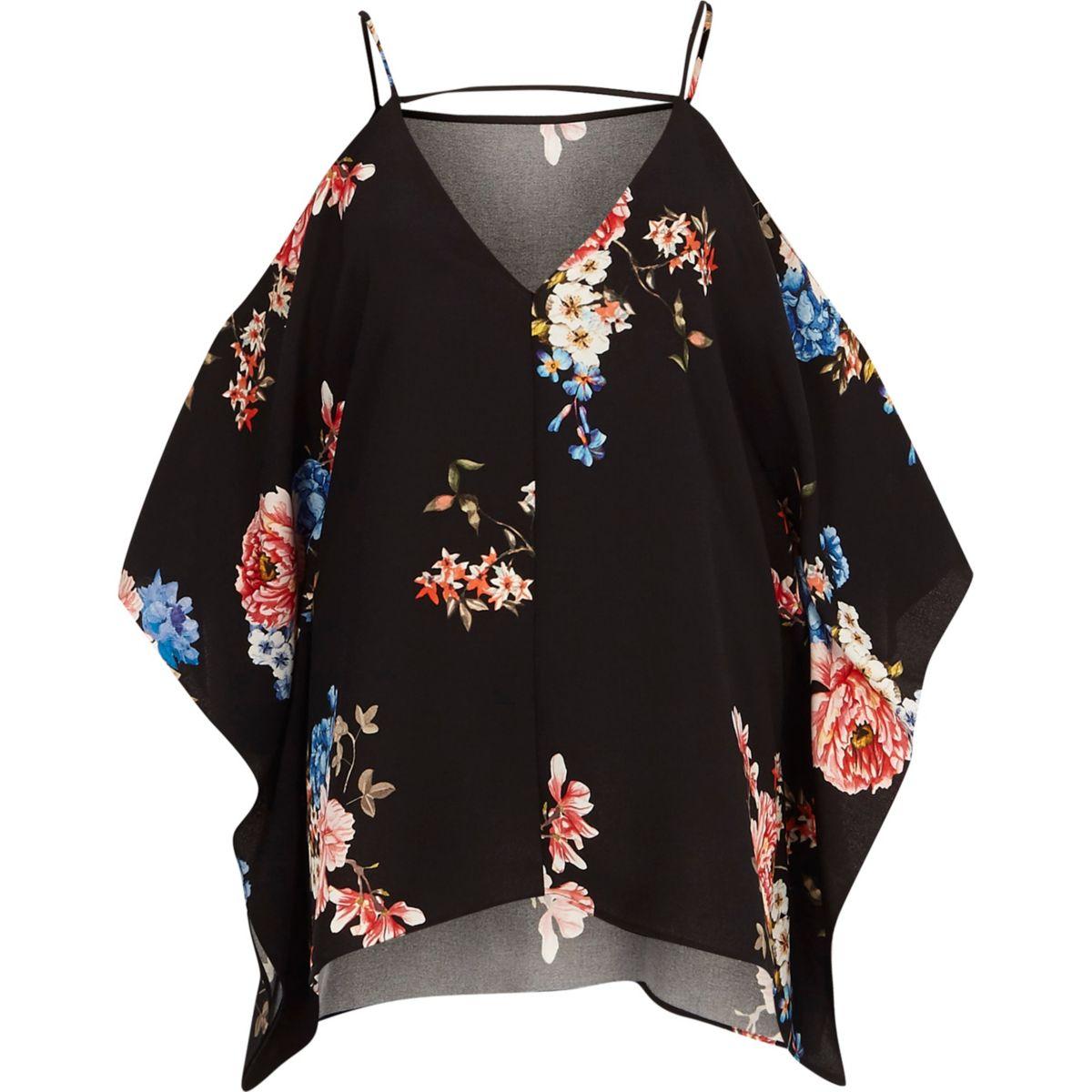 Top à fleurs noir à épaules dénudées