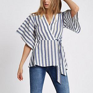Blue stripe kimono wrap top