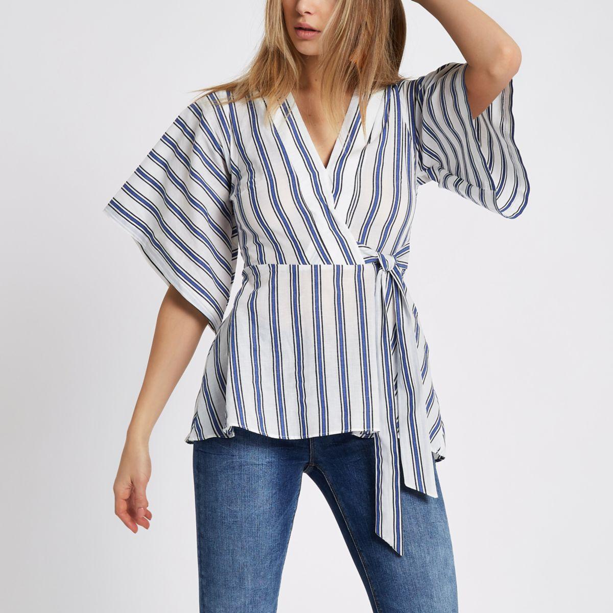 Blue stripe kimono wrap top - Tops - Sale - women