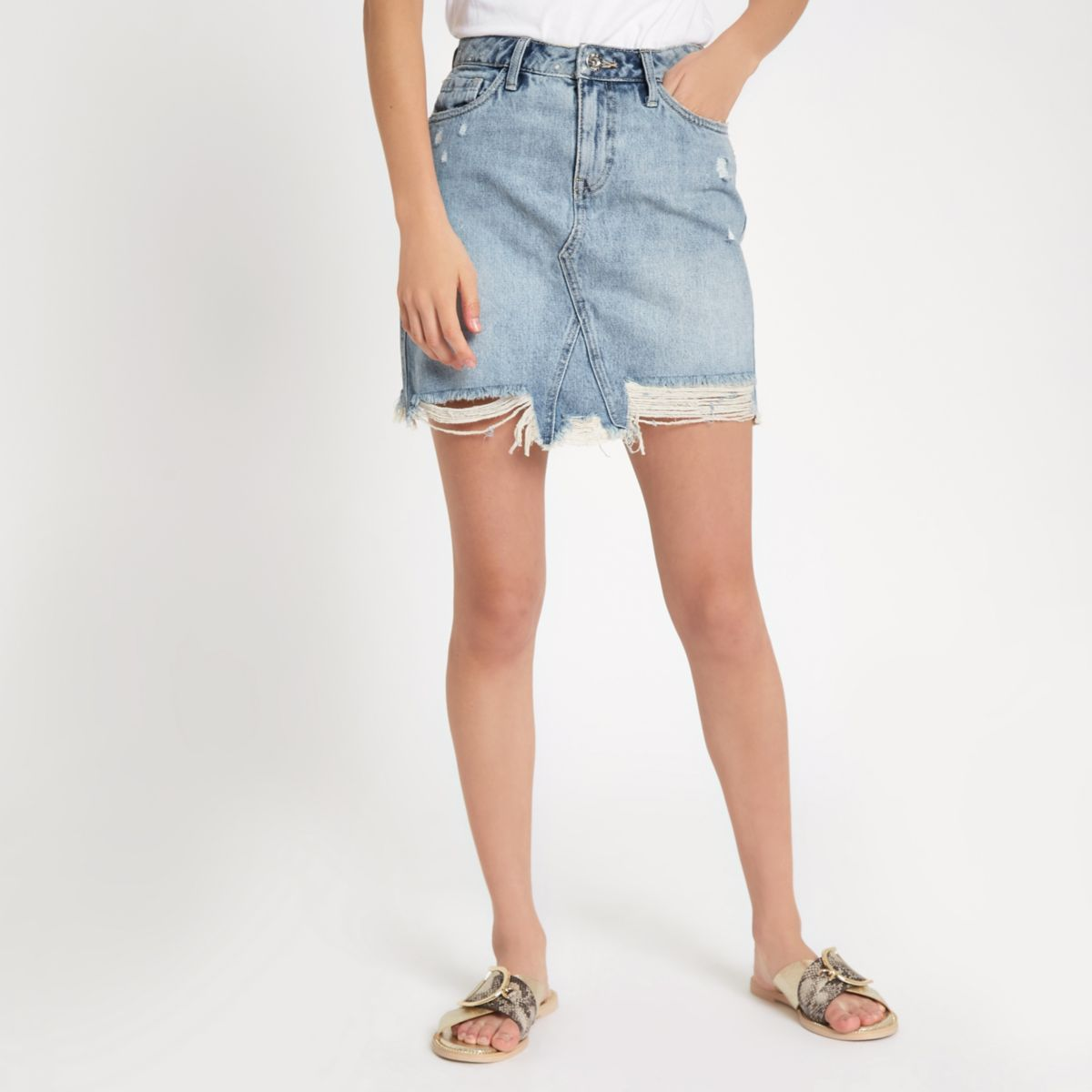 Light blue wash ripped denim mini skirt