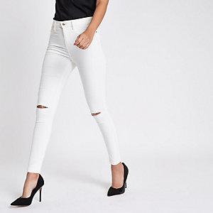 Harper - Witte superskinny jeans met hoge taille