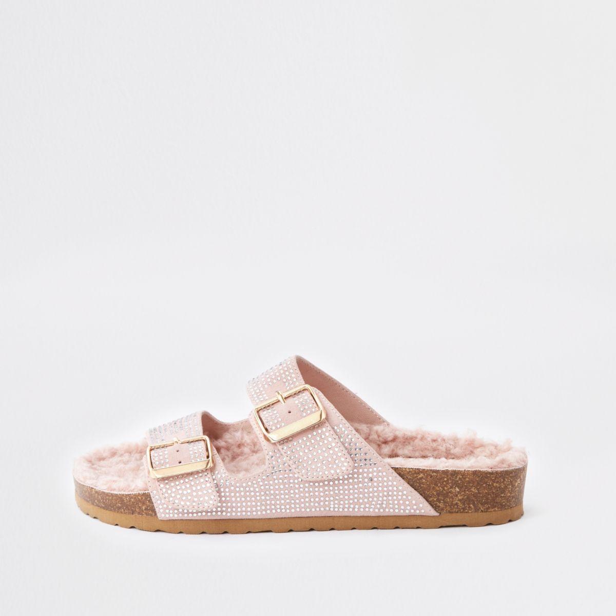 Nude embellished fleece footbed sandals